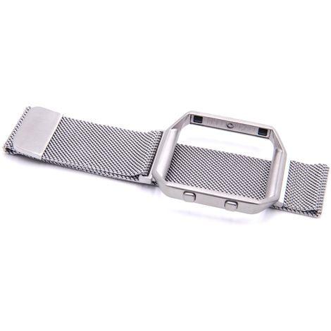 vhbw Edelstahl Ersatz Armband mit Rahmen silber 24 cm Magnetverschluss passend für Fitbit Blaze Smartwatch Fitness-Tracker