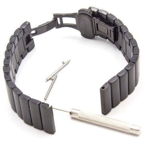 vhbw Edelstahl Ersatz-Armband schwarz 20mm für Smartwatch Fitness-Tracker Fossil Q Founder 2.0
