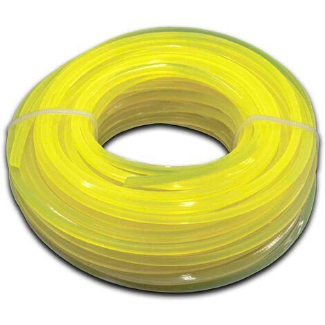 vhbw Fil de coupe universel pour tondeuse, débroussailleuse, coupe-bordure - Fil de rechange, jaune, 2,4 mm x 15 m, carré