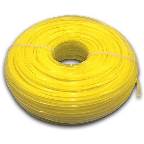 vhbw Fil de coupe universel pour tondeuse, débroussailleuse, coupe-bordure - Fil de rechange, jaune, 2,4 mm x 88 m, carré