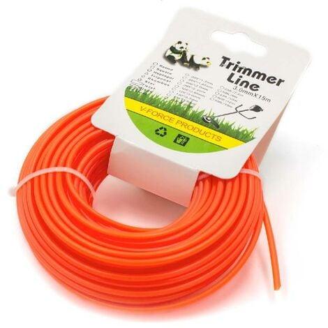 vhbw Fil de coupe universel pour tondeuse, débroussailleuse, coupe-bordure - Fil de rechange, orange, 3 mm x 15 m, rond
