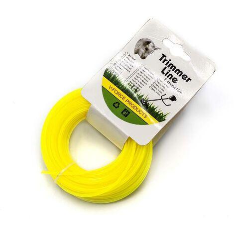 vhbw Hilo cortacésped de recambio de 2.4 mm de diámetro para recortadora de césped, desbrozadora - 15 metros, amarillo, nailon, resistente