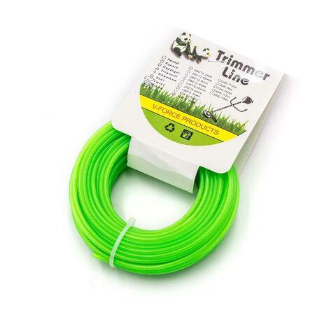vhbw Hilo cortacésped de2,4mm de diámetro para recortadora de césped, desbrozadora - 15 Metros, verde, nailon, resistente - hilo de recambio