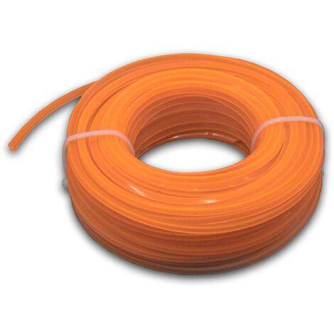 vhbw Hilo de corte, hilo de siega de 2,4 mm de diámetro para desbrozadoras, recortadoras de césped -15 metros, cuadrado, naranja, nailon