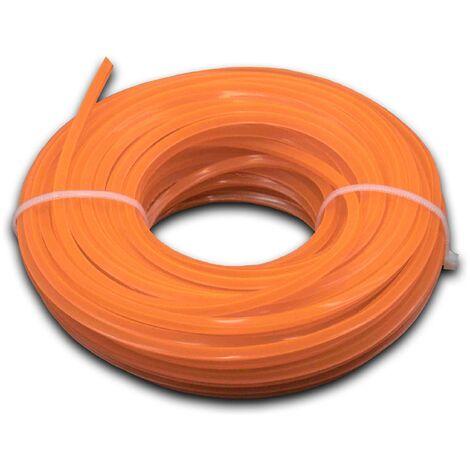 vhbw Hilo de corte, hilo de siega de 3 mm de diámetro para desbrozadoras, recortadoras de césped-15 metros, cuadrado, naranja, nailon