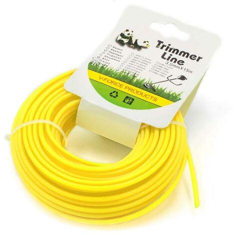 vhbw Hilo de corte universal para cortacésped, recortadora - Hilo recambio, amarillo, 3 mm x 15 m, redonda
