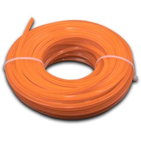 vhbw Hilo de corte universal para cortacésped, recortadora - Hilo recambio, naranja, 3 mm x 15 m, cuadrado