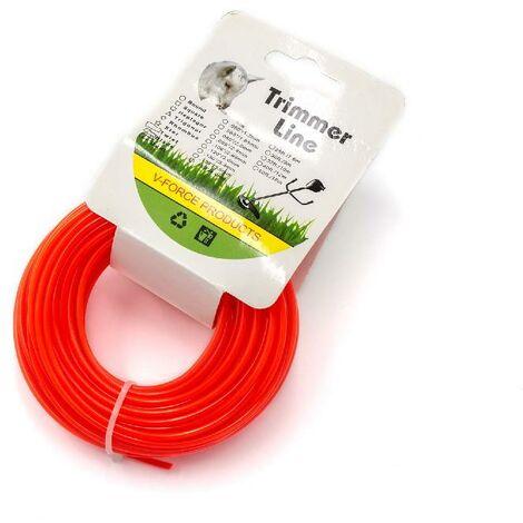 vhbw Hilo de corte universal para cortacésped, recortadora - Hilo recambio, rojo, 2,4 mm x 15 m, redonda