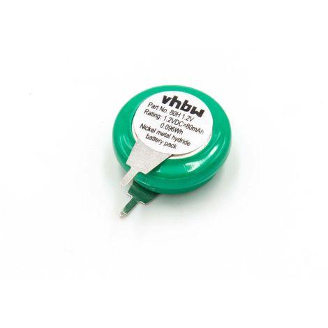 vhbw Knopfzellen Akku Typ V80H (NiMH, 80mAh, 1.2V) - 1 Zelle, 2 Pins Printanschluss, wiederaufladbar