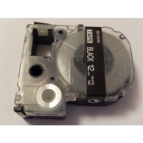 vhbw LABEL PRINTER RIBBON CARTRIDGE 12mm for KingJim SR330, SR6700D, SR3900P, SR950, SR750 as LC-4BWV, SD12KW.