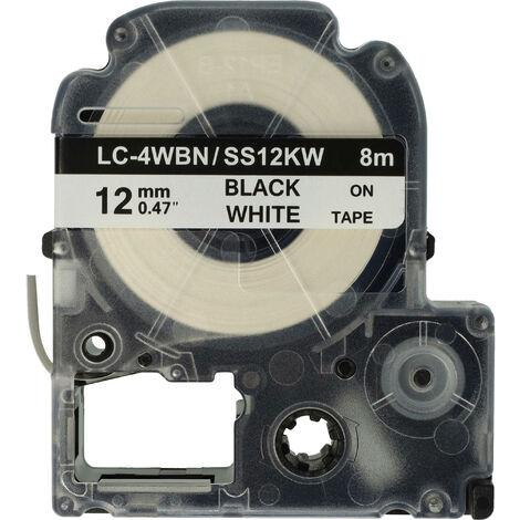 vhbw LABEL PRINTER RIBBON CARTRIDGE 12mm for KingJim SR330, SR6700D, SR3900P, SR950, SR750 as LC-4WBN, SS12KW.