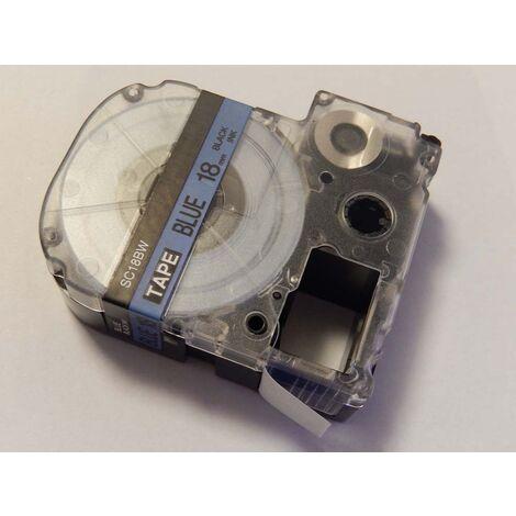 vhbw LABEL PRINTER RIBBON CARTRIDGE 18mm blue for KingJim SR550, SR530, SR330, SR6700D, SR3900P as LC-5LBP, SC18BW.