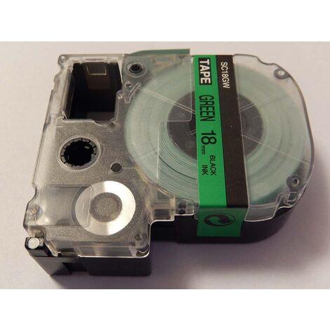 vhbw LABEL PRINTER RIBBON CARTRIDGE 18mm for KingJim SR330, SR6700D, SR3900P, SR950, SR750 as LC-5GBP, SC18GW.