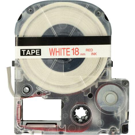 vhbw LABEL PRINTER RIBBON CARTRIDGE 18mm for KingJim SR550, SR530, SR330, SR6700D, SR3900P as LC-5WRN, SS18RW.