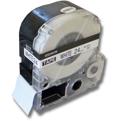 vhbw LABEL PRINTER RIBBON CARTRIDGE 24mm for KingJim SR330, SR3900C, SR3900P, SR530, SR530C, SR550, SR6700D, SR750, SR950 as LC-6WBN, SS24KW.