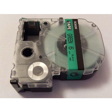 vhbw LABEL PRINTER RIBBON CARTRIDGE 6mm for KingJim SR330, SR6700D, SR3900P, SR950, SR750 as LC-2GBP, SC6GW.