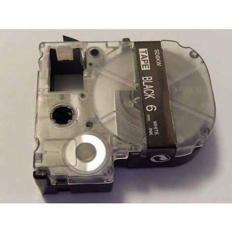 vhbw LABEL PRINTER RIBBON CARTRIDGE 6mm for KingJim SR550, SR530, SR330, SR6700D, SR3900P as LC-2BWV, SD6KW.