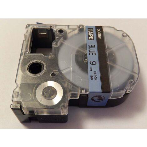 vhbw LABEL PRINTER RIBBON CARTRIDGE 9mm for KingJim SR330, SR6700D, SR3900P, SR950, SR750 as LC-3LBP, SC9BW.