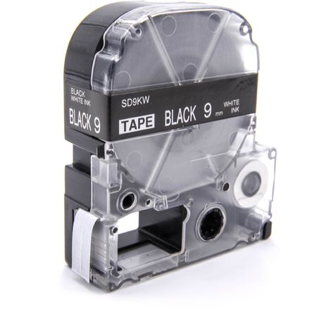 vhbw LABEL PRINTER RIBBON CARTRIDGE 9mm for KingJim SR550, SR530, SR330, SR6700D, SR3900P as LC-3BWV, SD9KW.