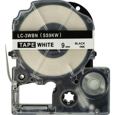 vhbw LABEL PRINTER RIBBON CARTRIDGE 9mm for KingJim SR550, SR530, SR330, SR6700D, SR3900P as LC-3WBN, SS9KW.