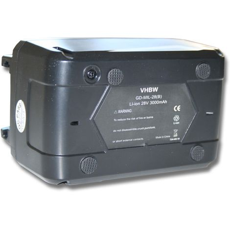 vhbw Li-Ion batería 3000mAh (28V) para herramientas Milwaukee V28 batería para lámpara a batería etc. por 48-11-1830, 48-11-2830, 48-11-2850.