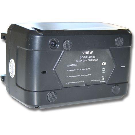 vhbw Li-Ion batería 3000mAh (28V) para herramientas Milwaukee V28 PD batería para martillo perforador etc. por 48-11-1830, 48-11-2830, 48-11-2850.