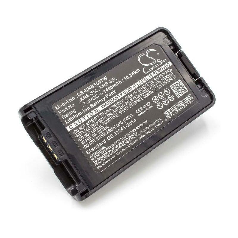 vhbw Li-Ion batterie 1400mAh (7.4V) pour radio talkie-walkie comme Kenwood KNB-35L, KNB-55L, KNB-57L
