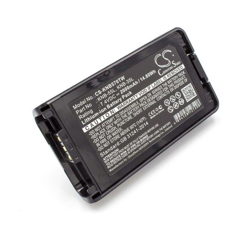 vhbw Li-Ion batterie 2000mAh (7.4V) pour radio talkie-walkie comme Kenwood KNB-35L, KNB-55L, KNB-57L
