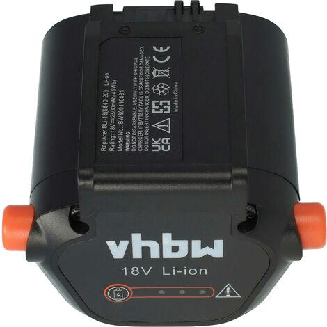 vhbw Li-Ion batterie 2500mAh (18V) pour éléctronique jardinage outil Gardena Telescopic Accu Hedge scie THS Li-18/42 comme 09840-20, BLi-18.