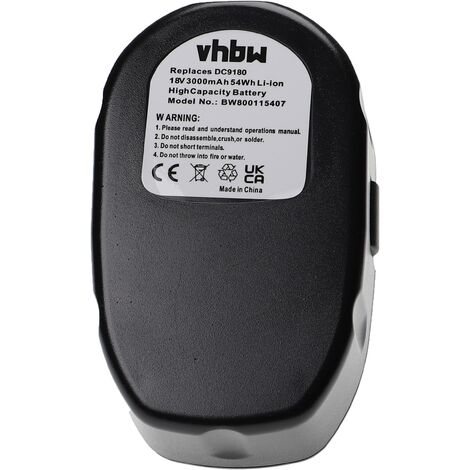 vhbw Li-Ion batterie 3000mAh (18V) pour outil électrique outil Tools Dewalt DC011, DC012, DC013, DC9180, DCD925, DCD925B2, DCD925KA, DCD925N