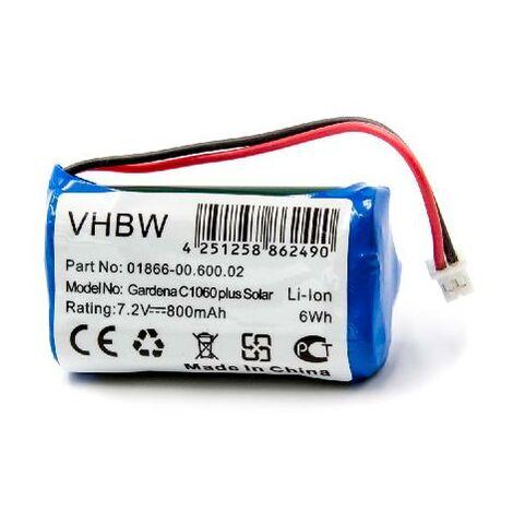 vhbw Li-Ion Batterie 800mAh (7.4V) pour programmateur d´arrosage Gardena C1060 plus Solar