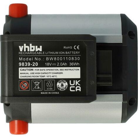vhbw Li-Ion battery 2000mAh (18V) for Elektro Garten power tool Gardena Telescopic Accu Hedge Trimmer THS Li-18/42 as 09840-20, BLi-18.