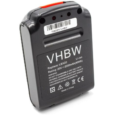 vhbw Li-Ion battery 2000mAh (20V) for electric power tools replaces Black & Decker LBX20, LBXR20
