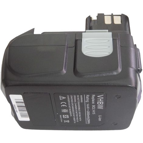 vhbw Li-Ion battery 2000mAh for power tool Hitachi WH 14DMR, WH 14DSL, WR 14DH, WR 14DL, WR 14DM, WR 14DMB as BCL1415, 327728, 327729.