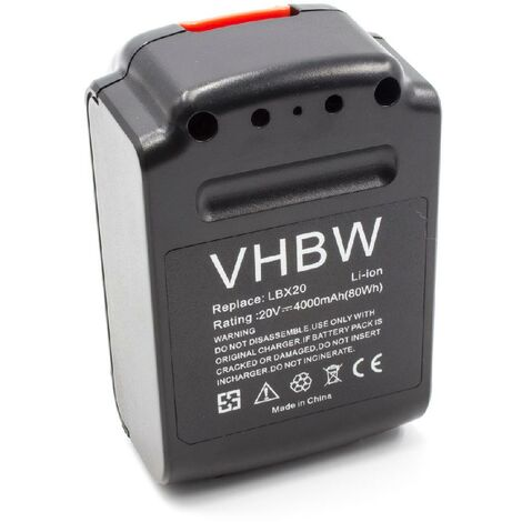 vhbw Li-Ion battery 4000mAh (20V) for electric power tools replaces Black & Decker LBX20, LBXR20