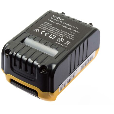 vhbw Li-Ion battery 4000mAh (20V) for power tool Dewalt DCF883B, DCF883L2, DCF885, DCF885B, DCF885C2, DCF885L2, DCF885N as DCB182, DCB183.