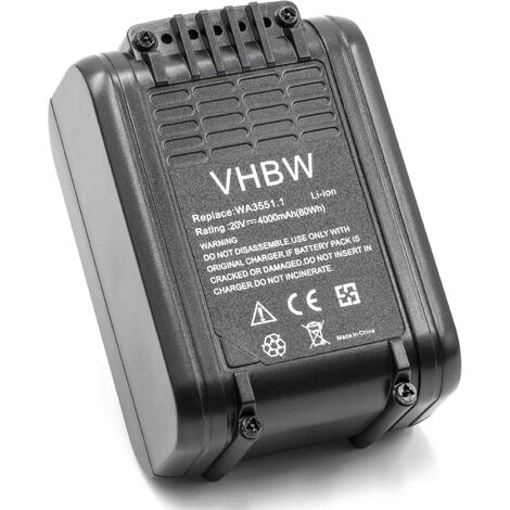 vhbw Li-Ion battery 4000mAh (20V) suitable for electronic tool Worx WX523.9, WX678, WX678.9 replaces WA3551.1.