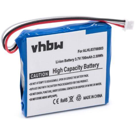 vhbw Li-Ion battery 700mAh (3.7V) for GPS navigation system sat nav replaces TomTom ALHL03708003