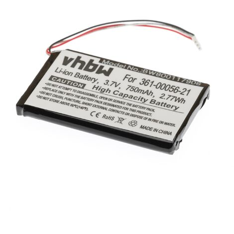 vhbw Li-Ion battery 750mAh (3.7V) for GPS navigation system sat nav replaces Garmin 361-00056-21