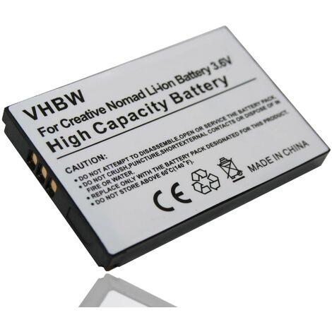 vhbw Li-Ion battery 900mAh (3.7V) suitable for CREATIVE NOMAD Muvo2 FM Muvo 2 Jukebox Zen XTRA Jukebox Zen NX