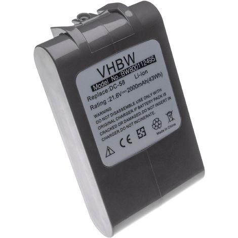 vhbw Li-Ion Battery compatible with Dyson SV03, SV06, SV09, SV05, SV07 Vacuum Cleaner Home Cleaner (2000mAh, 21.6V, Li-Ion)