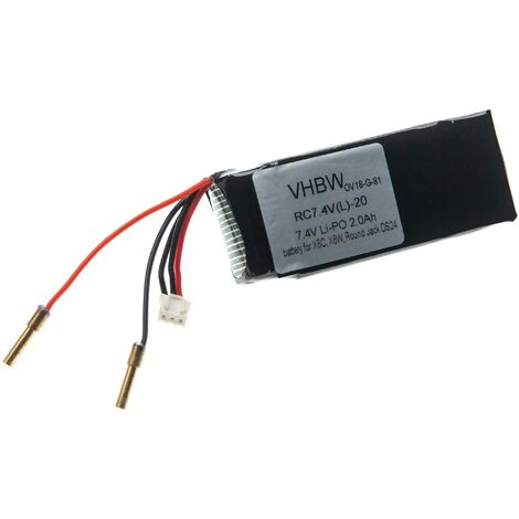 vhbw Li-Polymer battery 2000mAh (7.4V) for drone, multicopter, quadcopter Syma Round Jack DS24, X8C, X8W
