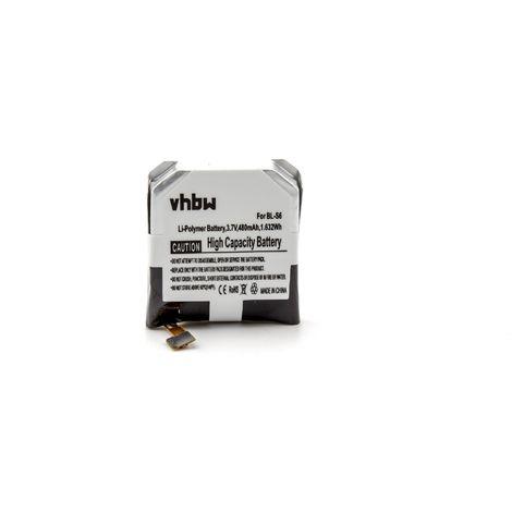 vhbw Li-Polymer battery 480mAh (3.7V) for smartwatch watch fitness bracelet replaces LG EAC63058201