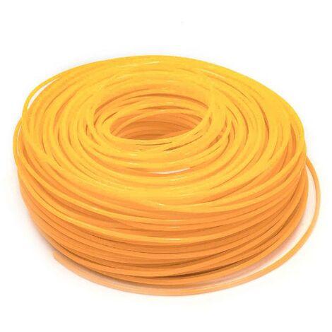 vhbw Mähfaden Trimmerfaden mit 2,4mm Durchmesser für Rasentrimmer Motorsense - 88 Meter, Orange, Nylon, widerstandsfähig Rasentrimmerfaden Ersatzfaden