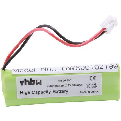 vhbw Ni-MH Akku 500mAh (2.4V) für Festnetz Telefon Medion MD83242, MD83282 ersetzt VT50AAAALH2BMJZ, GP1010, GPHC05RN01.