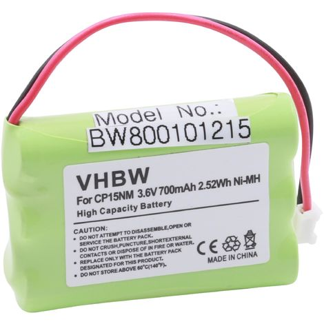 vhbw Ni-MH Akku 700mAh (3.6V) für Telefon Handy Motorola Babyphone 188610 MBP36, Thomson T7400 wie NTM/BKBNB 101 13/1, CP15NM, BKBNB 10109/1R1A.