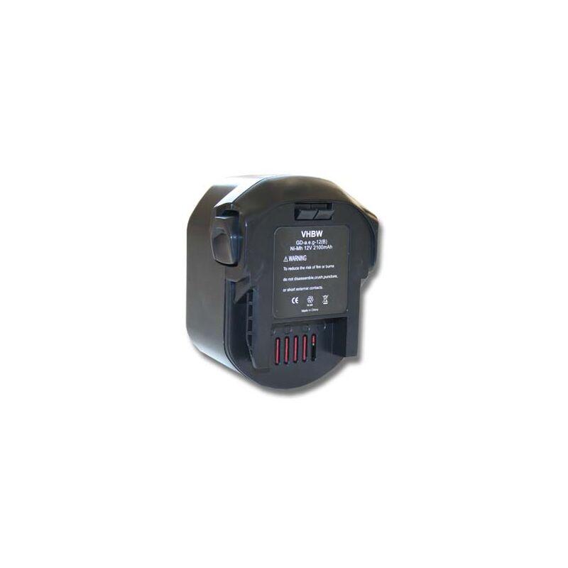 vhbw Ni-MH batterie 2100mAh (12V) pour outils AEG BSB 12 G, BSB 12 STX, BSS 12 RW, GBS AA12V, M1230R comme 0700 980 320, B1215R, B1220R, M1230R.