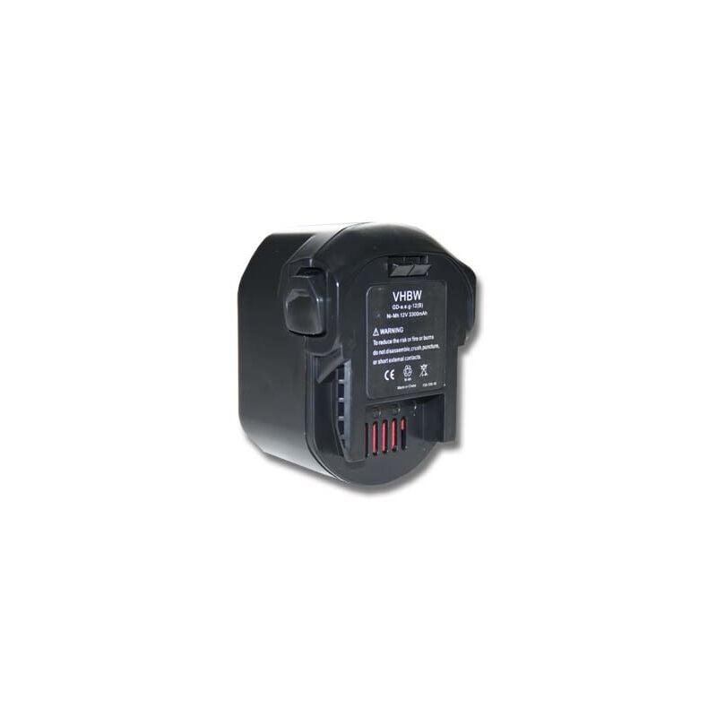 vhbw Ni-MH batterie 3300mAh (12V) pour outils AEG BSB 12 G, BSB 12 STX, BSS 12 RW, GBS AA12V, M1230R comme 0700 980 320, B1215R, B1220R, M1230R.