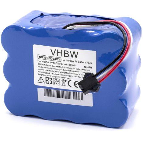 vhbw NiMH Akku 2000mAh (14.4V) für Saugroboter Home Cleaner Heimroboter H.Koenig SWR22