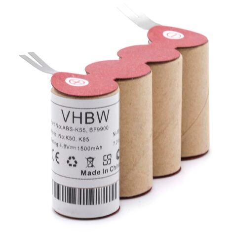 vhbw NiMH batería 1500mAh (4.8V) para escoba eléctrica robot autónomo de limpieza Kärcher K50, K85